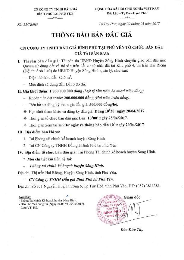 Đấu giá quyền sử dụng đất và tài sản trên đất tại huyện Sông Hinh, Phú Yên ảnh 1