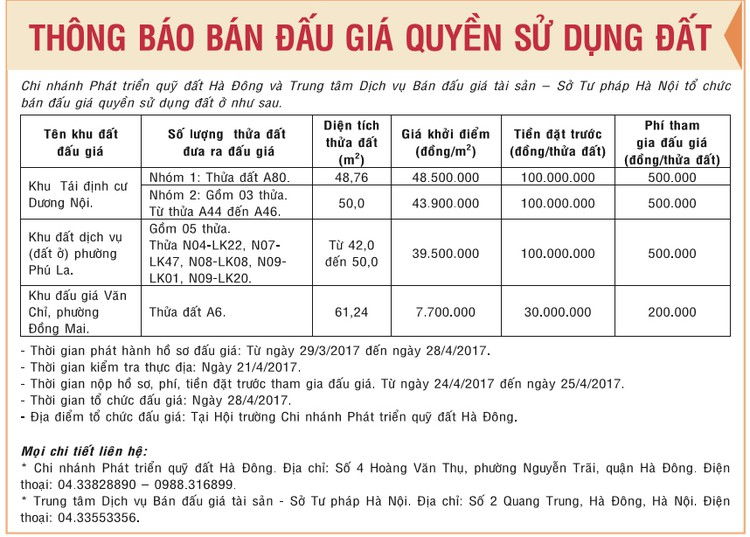 Đấu giá quyền sử dụng đất tại quận Hà Đông, Hà Nội ảnh 1