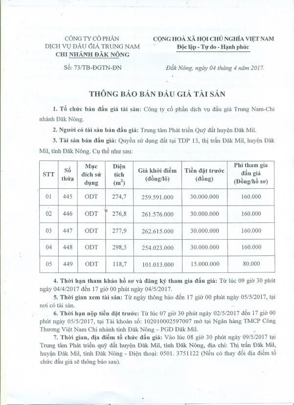 Đấu giá quyền sử dụng đất tại huyện Đăk Mil, Đắk Nông ảnh 1