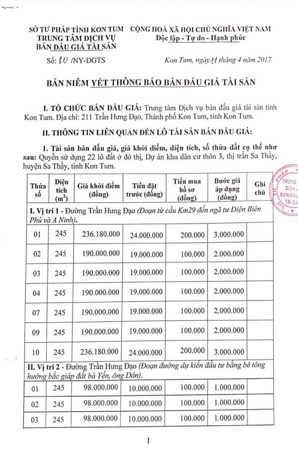 Đấu giá quyền sử dụng đất tại huyện Sa Thầy, Kon Tum ảnh 1