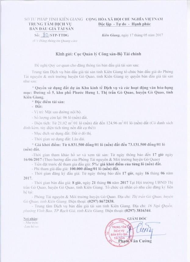 Đấu giá quyền sử dụng đất tại huyện Gò Quao, Kiên Giang ảnh 1