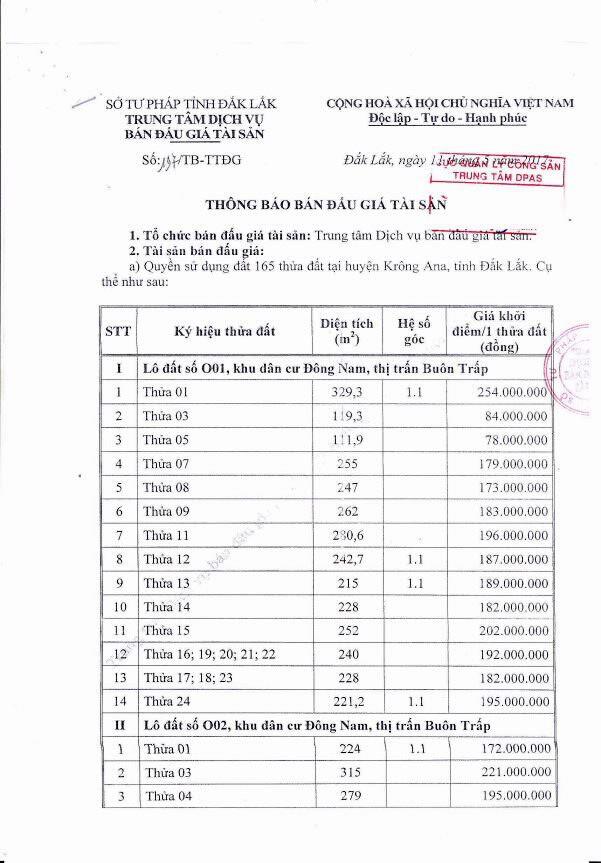 Đấu giá quyền sử dụng đất và tài sản trên đất tại huyện Krông Ana, Đắk Lắk ảnh 1