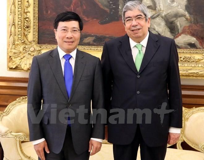 Phó Thủ tướng Phạm Bình Minh hội kiến Chủ tịch Quốc hội Bồ Đào Nha ảnh 1