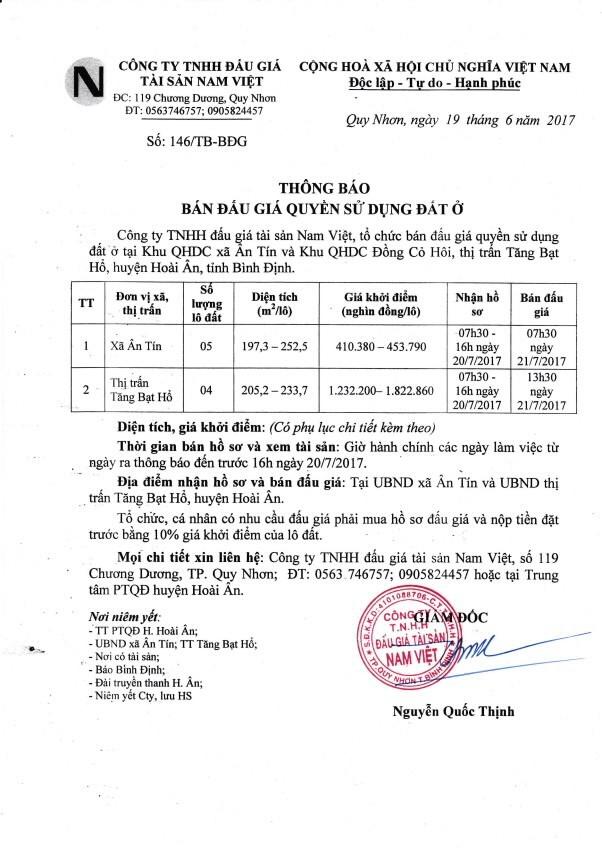 Đấu giá quyền sử dụng đất tại huyện Hoài Ân, Bình Định ảnh 1