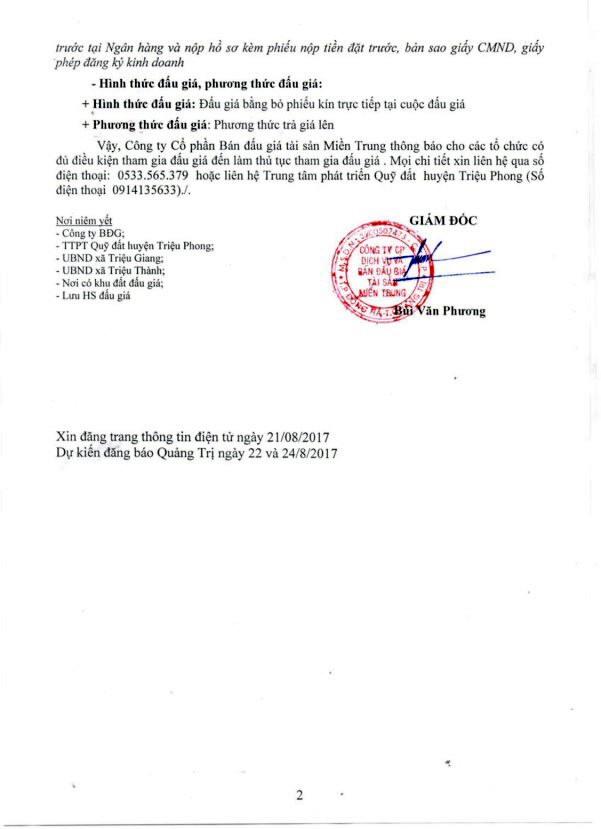 Đấu giá quyền sử dụng đất tại huyện Triệu Phong, Quảng Trị ảnh 2