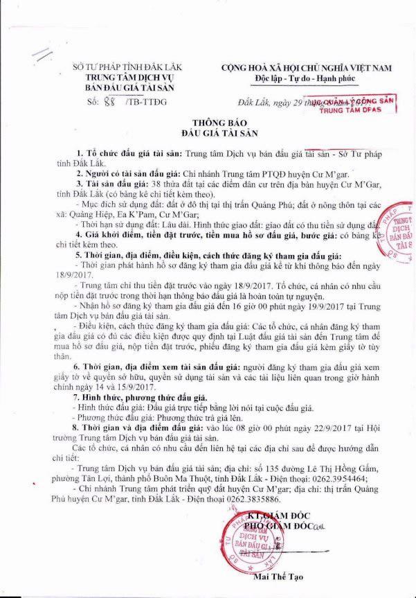 Đấu giá quyền sử dụng đất tại huyện Cư M'gar, Đắk Lắk ảnh 1