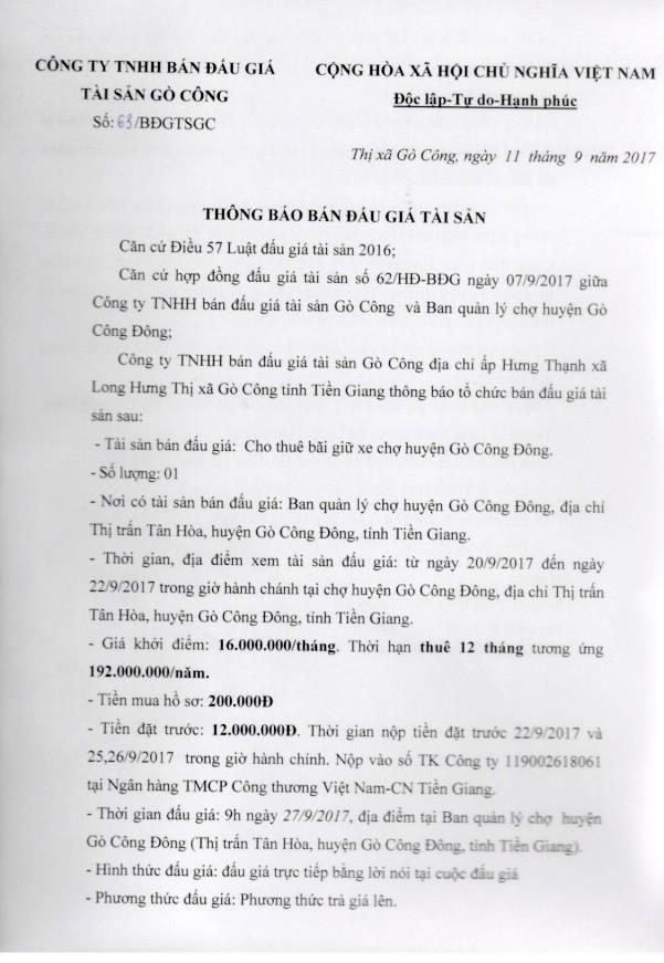 Đấu giá cho thuê bãi giữ xe chợ huyện Gò Công Đông, Tiền Giang ảnh 1