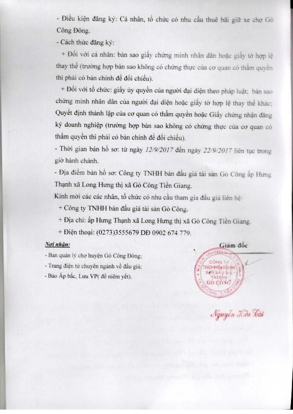Đấu giá cho thuê bãi giữ xe chợ huyện Gò Công Đông, Tiền Giang ảnh 2