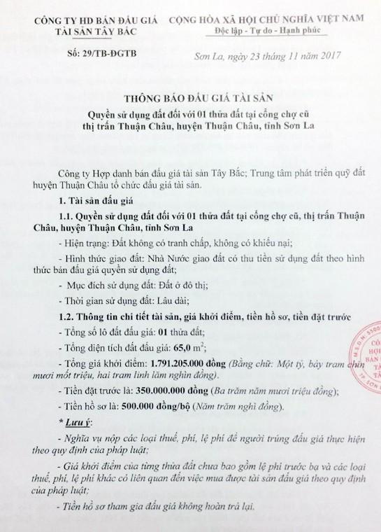 Đấu giá quyền sử dụng đất tại huyện Thuận Châu, Sơn La ảnh 1
