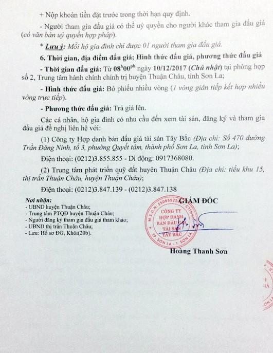 Đấu giá quyền sử dụng đất tại huyện Thuận Châu, Sơn La ảnh 3