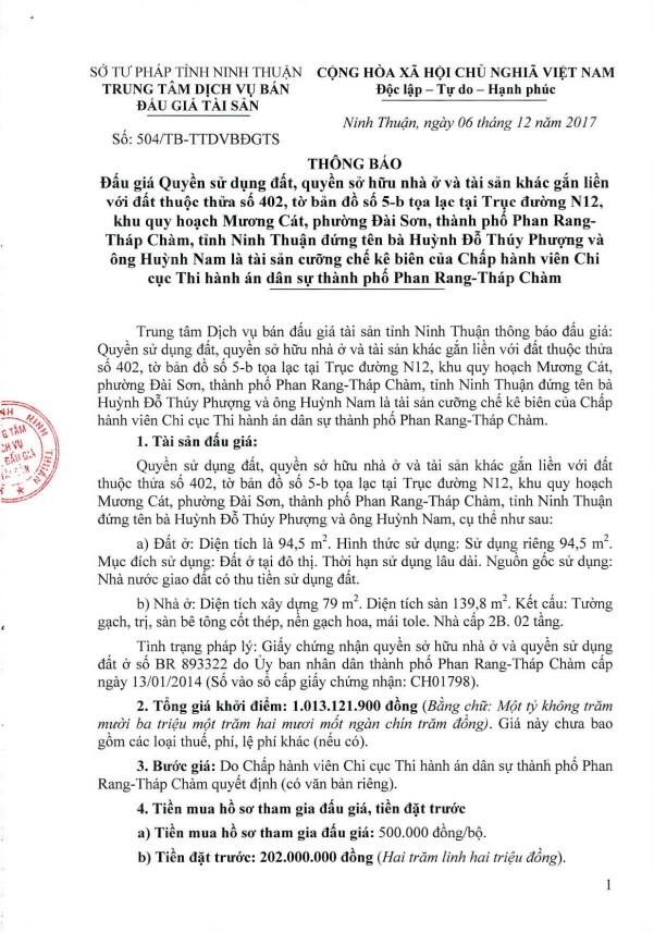 Đấu giá quyền sử dụng đất, quyền sở hữu nhà và TSGLVĐ tại TP.Phan Rang-Tháp Chàm, Quảng Ngãi ảnh 1