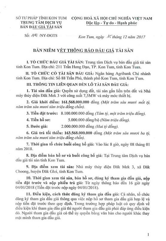 Đấu giá quyền sử dụng đất, TSGLTĐ và Nhà máy thủy điện Đắk Mek 3 tại Kon Tum ảnh 1