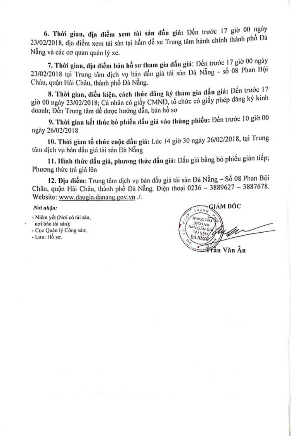 Đấu giá xe ô tô tại Đà Nẵng ảnh 2