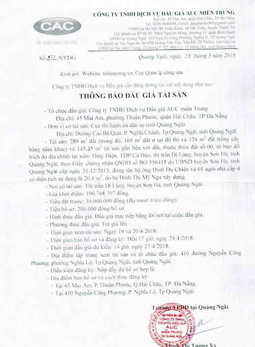 Đấu giá quyền sử dụng đất tại huyện Sơn Hà, Quảng Ngãi ảnh 1