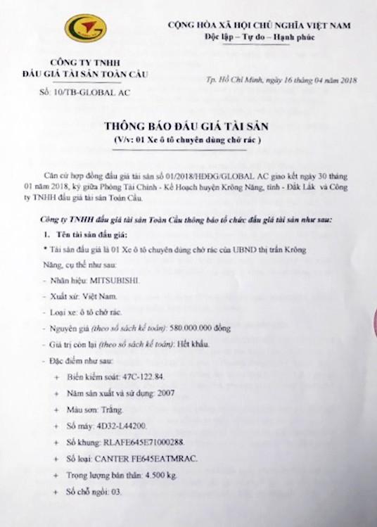 Đấu giá xe chuyên dùng chở rác tại Đắk Lắk ảnh 1