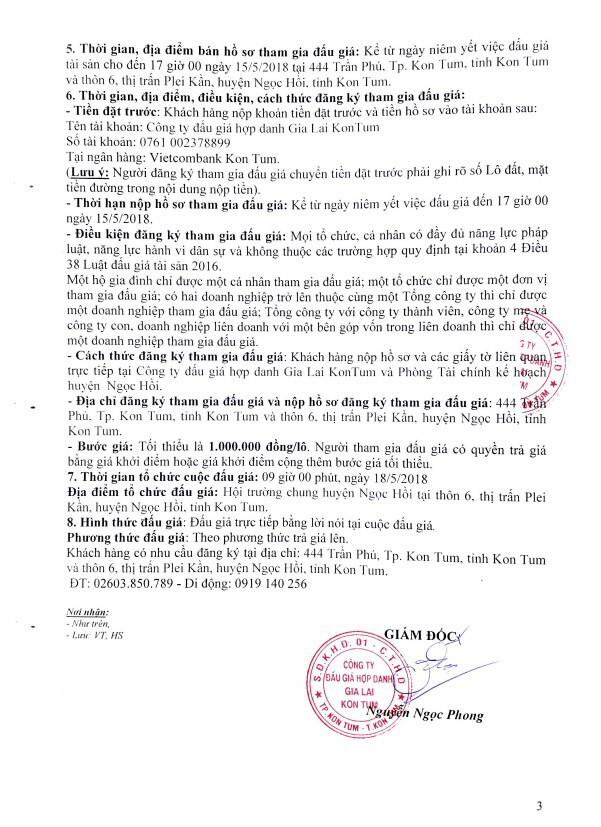 Đấu giá quyền sử dụng đất tại huyện Ngọc Hồi, Kon Tum ảnh 3