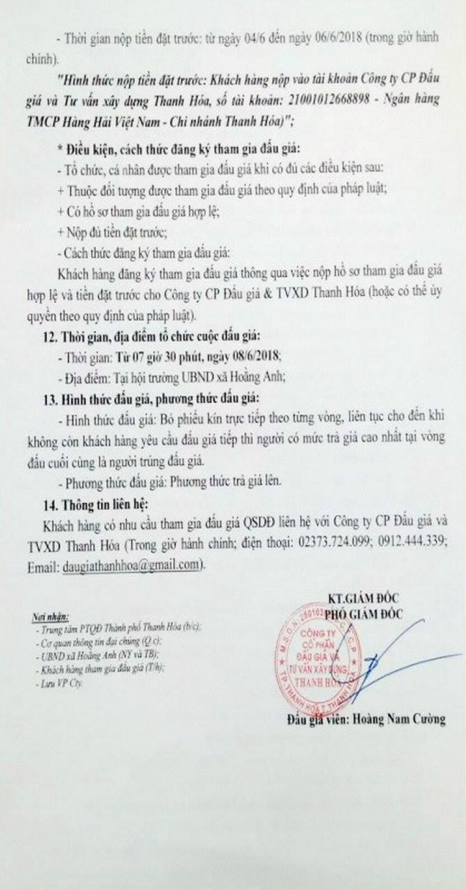 Đấu giá quyền sử dụng đất tại TP.Thanh Hóa, Thanh Hóa ảnh 2