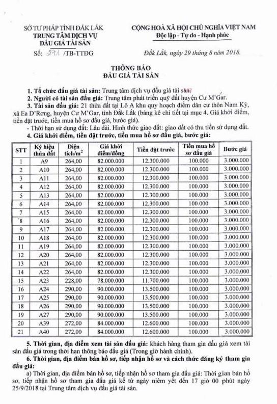 Ngày 28/9/2018, đấu giá quyền sử dụng 21 thửa đất tại huyện Cư M'Gar, Đắk Lắk ảnh 1