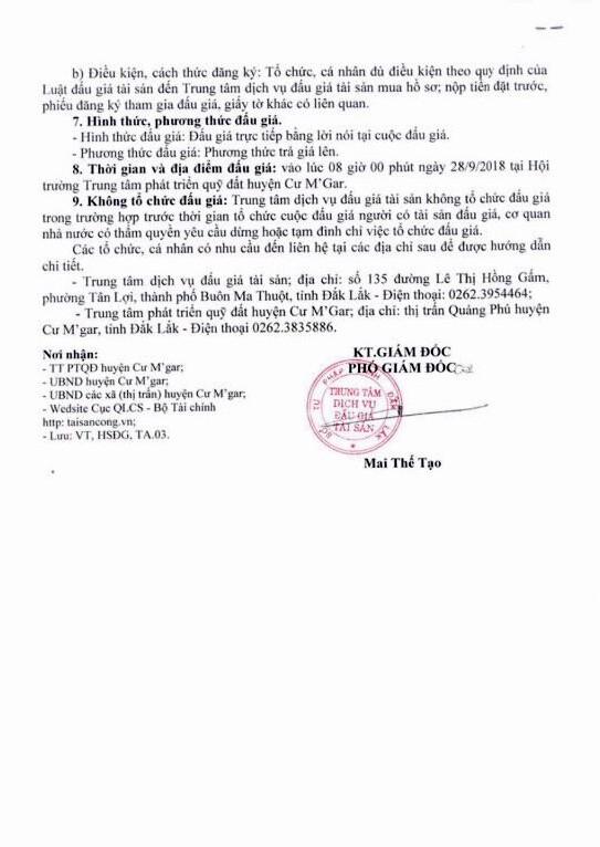 Ngày 28/9/2018, đấu giá quyền sử dụng 21 thửa đất tại huyện Cư M'Gar, Đắk Lắk ảnh 2