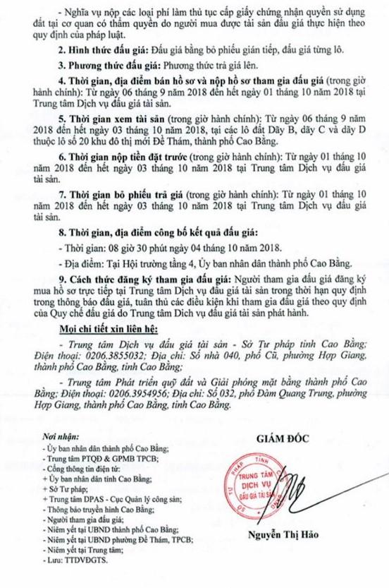 Ngày 4/10/2018, đấu giá quyền sử dụng đất tại thành phố Cao Bằng, Cao Bằng ảnh 2