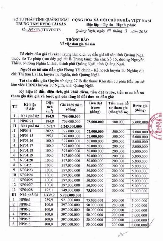 Ngày 27/9/2018, đấu giá quyền sử dụng 8 lô đất tại huyện Minh Long, Quảng Ngãi ảnh 1