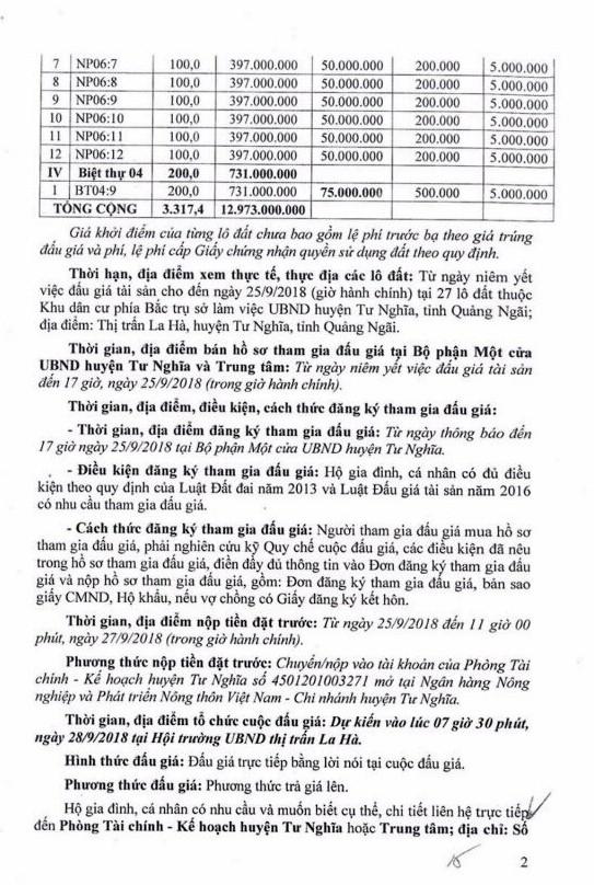 Ngày 27/9/2018, đấu giá quyền sử dụng 8 lô đất tại huyện Minh Long, Quảng Ngãi ảnh 2