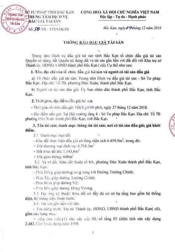 Ngày 27/12/2018, đấu giá quyền sử dụng đất tại thành phố Bắc Kạn, tỉnh Bắc Kạn ảnh 1