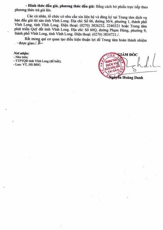 Ngày 10/1/2019, đấu giá quyền sử dụng đất tại thành phố Vĩnh Long, tỉnh Vĩnh Long ảnh 2