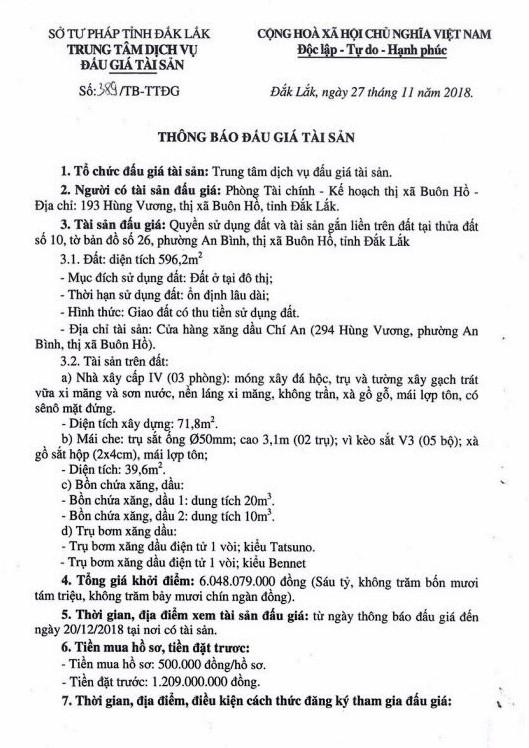 Ngày 24/12/2018, đấu giá quyền sử dụng đất và tài sản gắn liền với đất tại thị xã Buôn Hồ, tỉnh Đắk Lắk ảnh 1