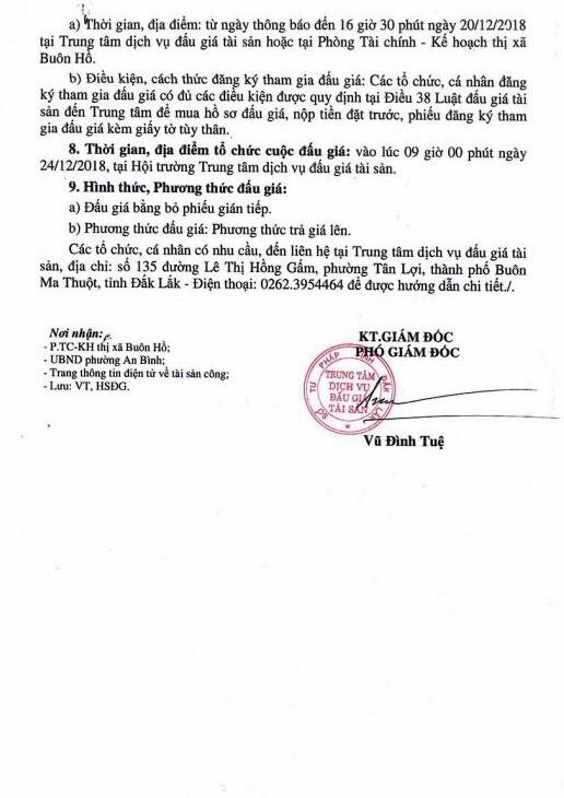 Ngày 24/12/2018, đấu giá quyền sử dụng đất và tài sản gắn liền với đất tại thị xã Buôn Hồ, tỉnh Đắk Lắk ảnh 2