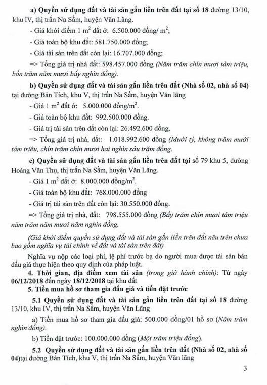 Ngày 27/12/2018, đấu giá quyền sử dụng đất và tài sản trên đất tại huyện Văn Lãng, tỉnh Lạng Sơn ảnh 3