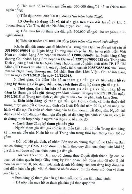 Ngày 27/12/2018, đấu giá quyền sử dụng đất và tài sản trên đất tại huyện Văn Lãng, tỉnh Lạng Sơn ảnh 4