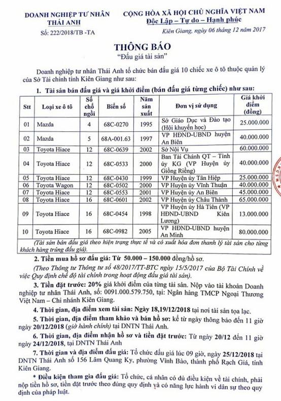 Ngày 25/12/2018, đấu giá lô xe ô tô tại tỉnh Kiên Giang ảnh 1