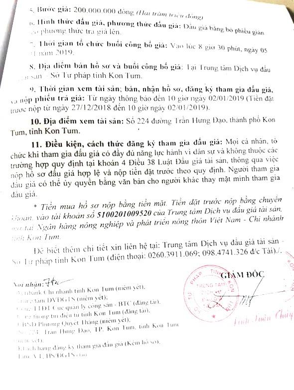 Ngày 5/1/2019, đấu giá quyền sử dụng đất, quyền sở hữu nhà và tài sản gắn liền với đất tại thành phố Kon Tum, tỉnh Kon Tum ảnh 2