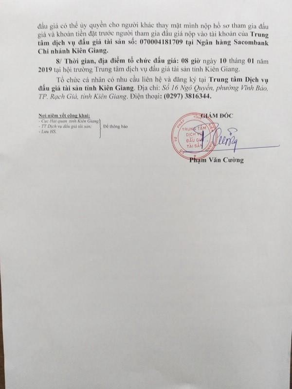 Ngày 10/01/2019, đấu giá 53 kg tổ yến dạng thô tại tỉnh Kiên Giang ảnh 2