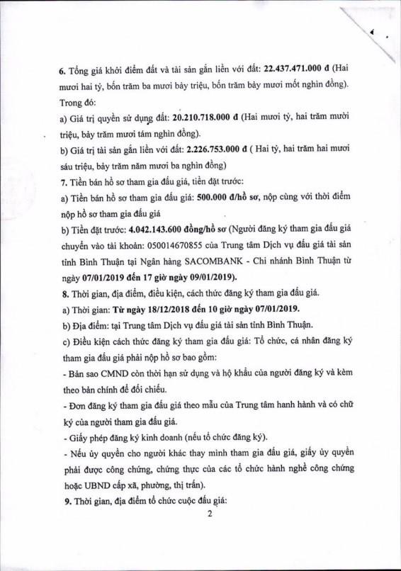 Ngày 10/01/2019, đấu giá quyền sử dụng 1.200 m2 đất và tài sản gắn liền với đất tại thành phố Phan Thiết, tỉnh Bình Thuận ảnh 2