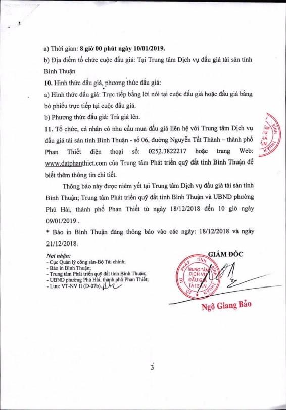 Ngày 10/01/2019, đấu giá quyền sử dụng 1.200 m2 đất và tài sản gắn liền với đất tại thành phố Phan Thiết, tỉnh Bình Thuận ảnh 3