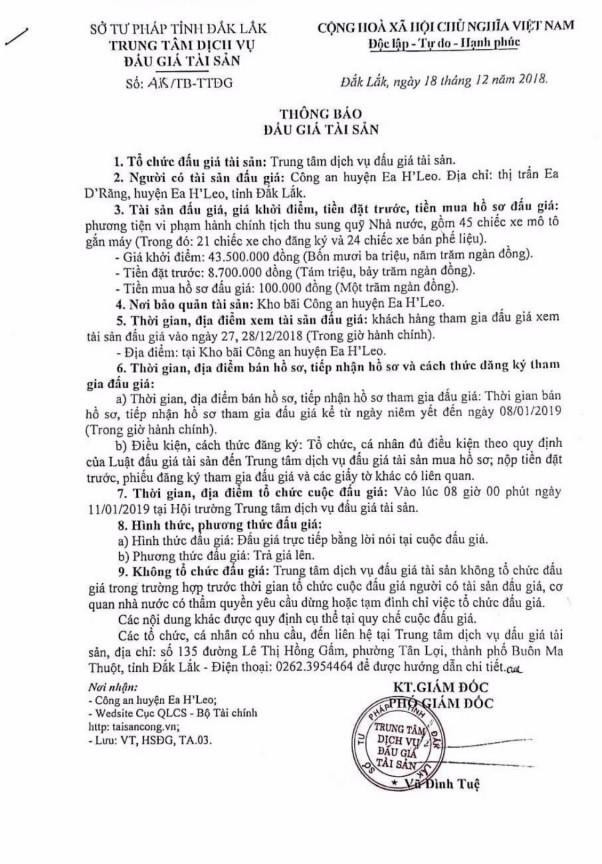 Ngày 11/1/2019, đấu giá tang vật vi phạm hành chính tại tỉnh Đắk Lắk ảnh 1