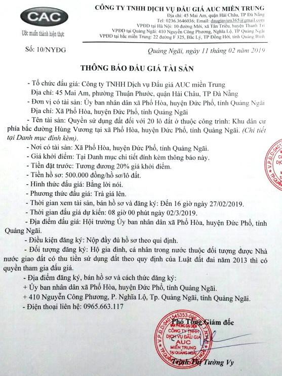 Ngày 2/03/2019, đấu giá quyền sử dụng 20 lô đất tại huyện Đức Phổ, tỉnh Quảng Ngãi ảnh 1