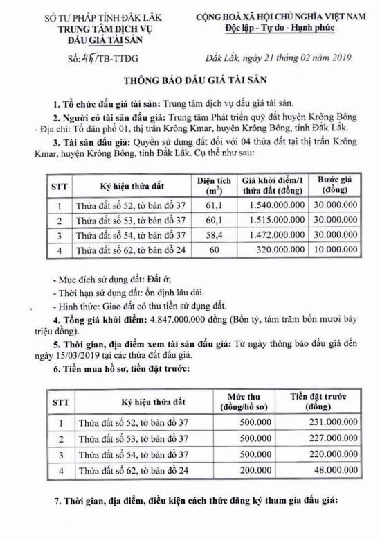 Ngày 19/3/2018, đấu giá quyền sử dụng đất tại huyện Krông Bông, tỉnh Đắk Lắk ảnh 1
