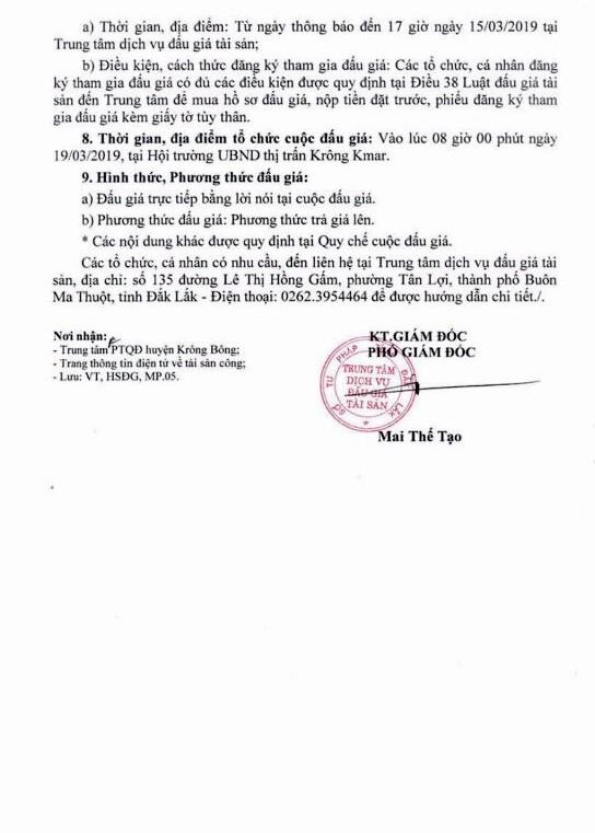 Ngày 19/3/2018, đấu giá quyền sử dụng đất tại huyện Krông Bông, tỉnh Đắk Lắk ảnh 2