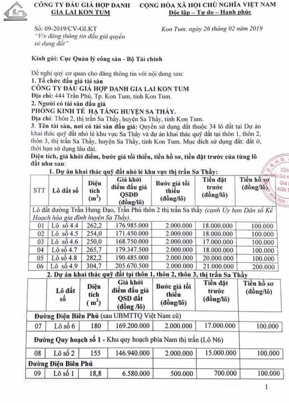 Ngày 22/3/2018, đấu giá quyền sử dụng 34 lô đất tại huyện Sa Thầy, tỉnh Kon Tum ảnh 1