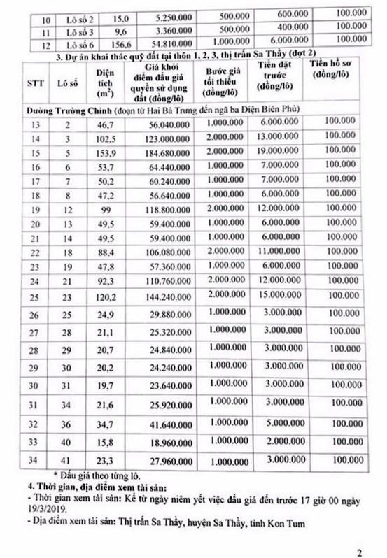 Ngày 22/3/2018, đấu giá quyền sử dụng 34 lô đất tại huyện Sa Thầy, tỉnh Kon Tum ảnh 2