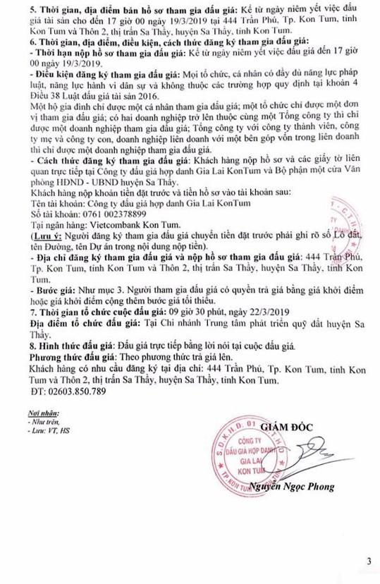 Ngày 22/3/2018, đấu giá quyền sử dụng 34 lô đất tại huyện Sa Thầy, tỉnh Kon Tum ảnh 3
