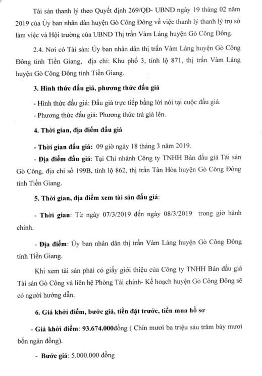 Ngày 18/3/2019, đấu giá thanh lý trụ sở làm việc và Hội trường của UBND thị trấn Vàm Láng, huyện Gò Công Đông (tỉnh Tiền Giang) ảnh 2