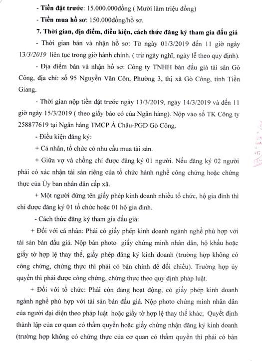 Ngày 18/3/2019, đấu giá thanh lý trụ sở làm việc và Hội trường của UBND thị trấn Vàm Láng, huyện Gò Công Đông (tỉnh Tiền Giang) ảnh 3