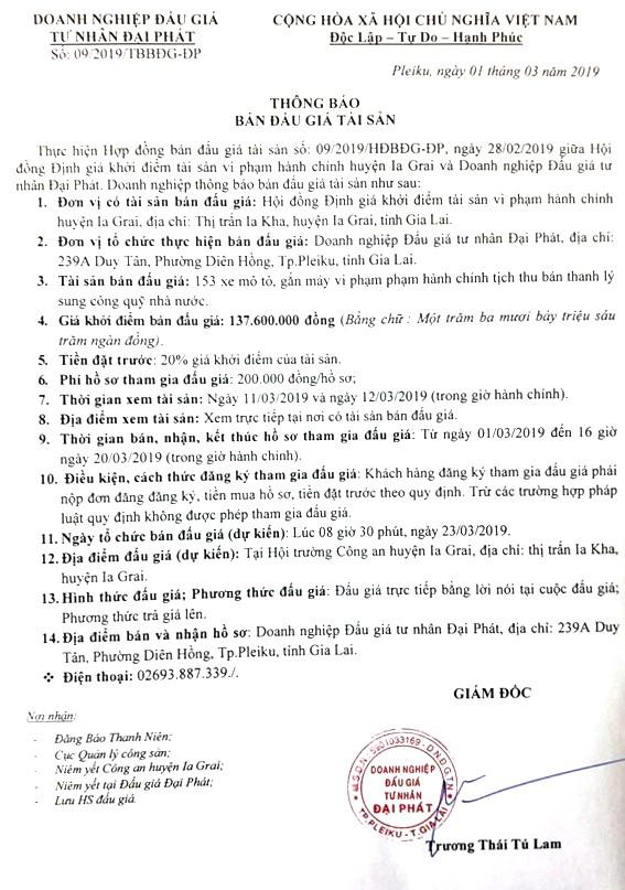 Ngày 23/3/2019, đấu giá 153 xe môtô, gắn máy bị tịch thu sung công quỹ tại tỉnh Gia Lai ảnh 1