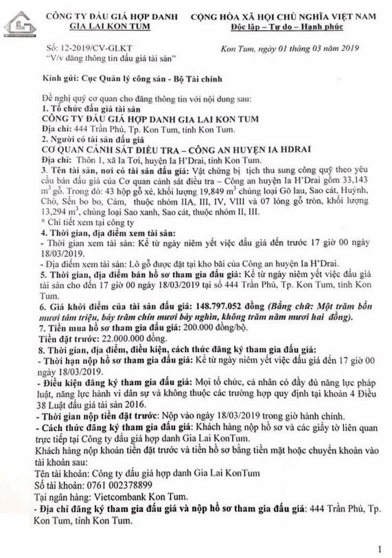 Ngày 21/3/2019, đấu giá vật chứng bị tịch thu sung công quỹ tại tỉnh Kon Tum ảnh 1