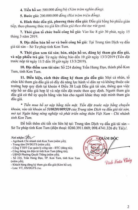 Ngày 15/3/2019, đấu giá quyền sử dụng đất và tài sản gắn liền với đất tại thành phố Kon Tum, tỉnh Kon Tum ảnh 2