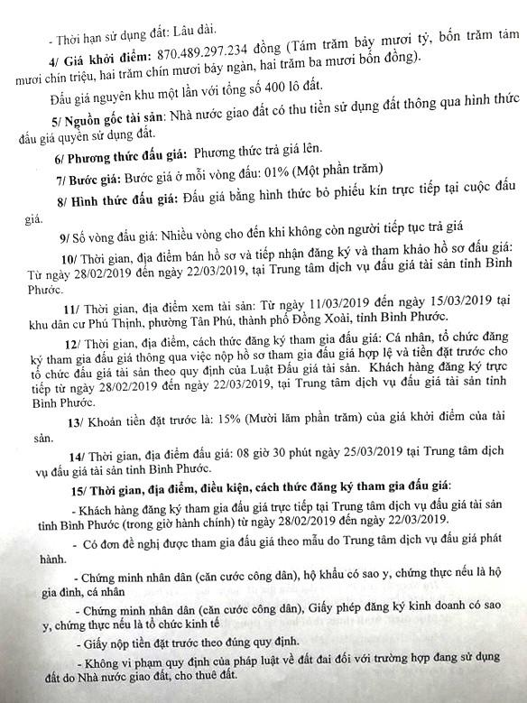 Ngày 25/3/2019, đấu giá quyền sử dụng 400 lô đất tại thành phố Đồng Xoài, tỉnh Bình Phước ảnh 2